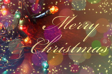 christmas card, pattern: glowing border of colorful christmas lights over dark background with inscription, holiday greeting, decorative garland