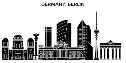 Germany, Berlin architecture skyline, buildings, silhouette, outline landscape, landmarks. Editable strokes. Flat design line banner, vector illustration concept.