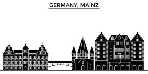 Germany, Mainz architecture skyline, buildings, silhouette, outline landscape, landmarks. Editable strokes. Flat design line banner, vector illustration concept.