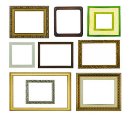 baguettes and picture frames on isolated background