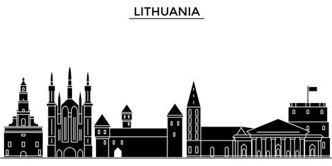 Lithuania architecture skyline, buildings, silhouette, outline landscape, landmarks. Editable strokes. Flat design line banner, vector illustration concept.