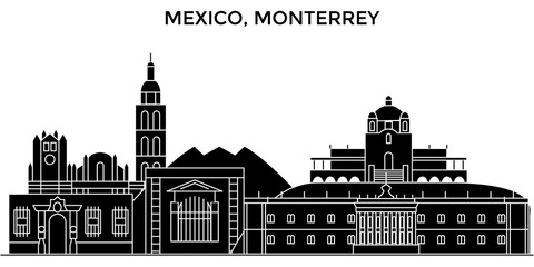 Mexico, Monterrey architecture skyline, buildings, silhouette, outline landscape, landmarks. Editable strokes. Flat design line banner, vector illustration concept.