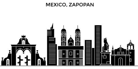 Mexico, Zapopan architecture skyline, buildings, silhouette, outline landscape, landmarks. Editable strokes. Flat design line banner, vector illustration concept.