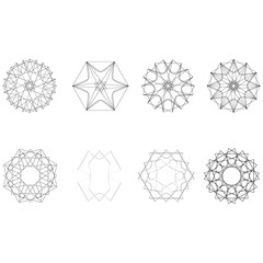 Geometric set stars and flowers for gifts and holidays pattern vector EPS10