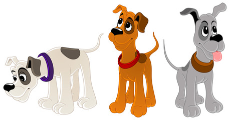 Hunting dogs. Set of characters.
