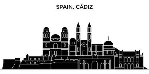 Spain, Cadiz architecture skyline, buildings, silhouette, outline landscape, landmarks. Editable strokes. Flat design line banner, vector illustration concept.