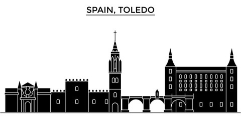Spain, Toledo architecture skyline, buildings, silhouette, outline landscape, landmarks. Editable strokes. Flat design line banner, vector illustration concept.