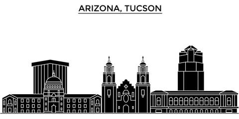 Usa, Arizona Tucson architecture skyline, buildings, silhouette, outline landscape, landmarks. Editable strokes. Flat design line banner, vector illustration concept.
