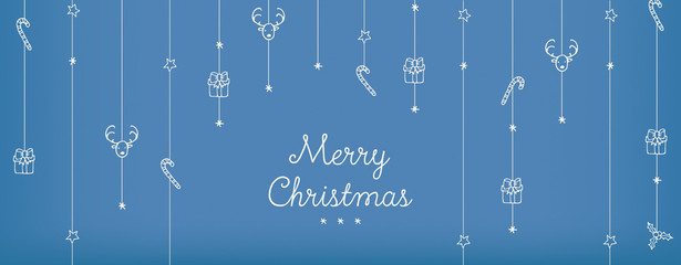 Blue Vintage Retro Banners Designs with Hand Drawn Christmas Vector Illustrations:  Saying Merry Christmas