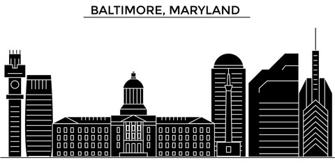 Usa, Baltimore, Maryland architecture skyline, buildings, silhouette, outline landscape, landmarks. Editable strokes. Flat design line banner, vector illustration concept.
