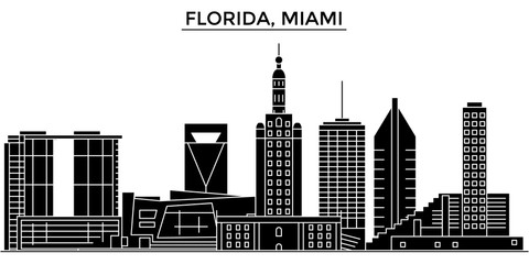 Usa, Florida Miami architecture skyline, buildings, silhouette, outline landscape, landmarks. Editable strokes. Flat design line banner, vector illustration concept.