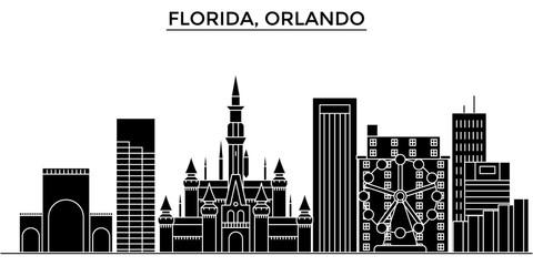 Usa, Florida Orlando architecture skyline, buildings, silhouette, outline landscape, landmarks. Editable strokes. Flat design line banner, vector illustration concept.