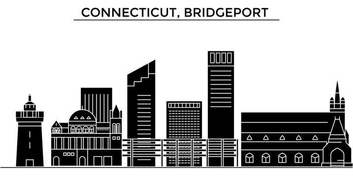 Usa, Connecticut, Bridgeport architecture skyline, buildings, silhouette, outline landscape, landmarks. Editable strokes. Flat design line banner, vector illustration concept.