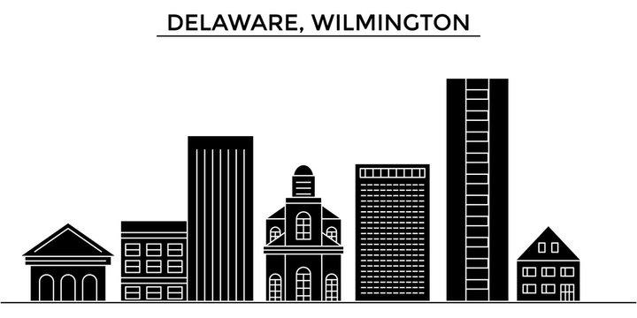 Usa, Delaware, Wilmington architecture skyline, buildings, silhouette, outline landscape, landmarks. Editable strokes. Flat design line banner, vector illustration concept.
