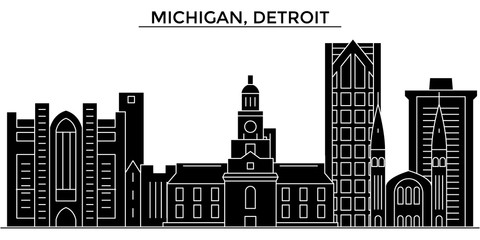 Usa, Michigan, Detroit architecture skyline, buildings, silhouette, outline landscape, landmarks. Editable strokes. Flat design line banner, vector illustration concept.