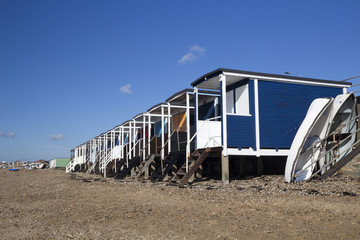 Beach Huts and Boats on Thorpe Bay Beach, Essex, England
