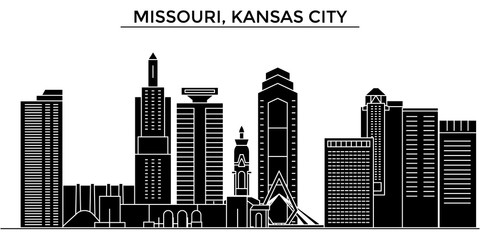 Usa, Missouri, Kansas City architecture skyline, buildings, silhouette, outline landscape, landmarks. Editable strokes. Flat design line banner, vector illustration concept.