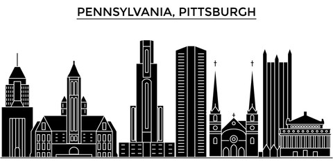 Usa, Pennsylvania  Pittsburgh architecture skyline, buildings, silhouette, outline landscape, landmarks. Editable strokes. Flat design line banner, vector illustration concept.