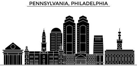 Usa, Pennsylvania, Philadelphia architecture skyline, buildings, silhouette, outline landscape, landmarks. Editable strokes. Flat design line banner, vector illustration concept.