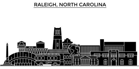Usa, Raleigh, North Carolina architecture skyline, buildings, silhouette, outline landscape, landmarks. Editable strokes. Flat design line banner, vector illustration concept.