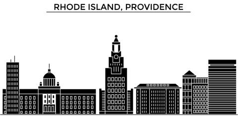 Usa, Rhode Island, Providence architecture skyline, buildings, silhouette, outline landscape, landmarks. Editable strokes. Flat design line banner, vector illustration concept.