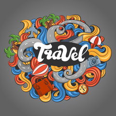 colored hand-painted poster with doodles on travel theme, vector illustration