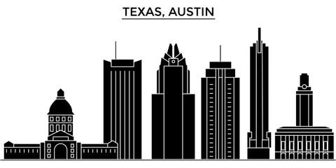 Usa, Texas Austin architecture skyline, buildings, silhouette, outline landscape, landmarks. Editable strokes. Flat design line banner, vector illustration concept.