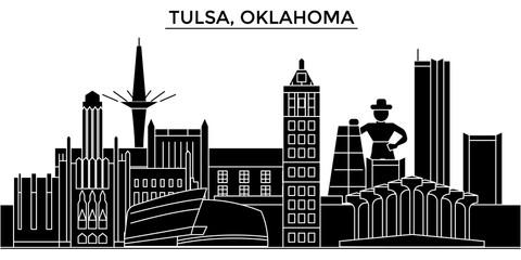 Usa, Tulsa, Oklahoma architecture skyline, buildings, silhouette, outline landscape, landmarks. Editable strokes. Flat design line banner, vector illustration concept.