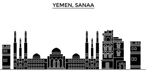 Yemen, Sanaa architecture skyline, buildings, silhouette, outline landscape, landmarks. Editable strokes. Flat design line banner, vector illustration concept.