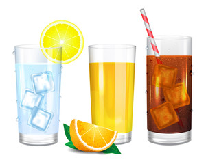 Three realistic glasses of drinks. Cola with straw. Yellow orange juice and piece of fruit. Water with ice cubes. Vector illustration on white background.