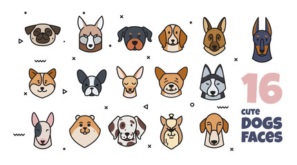 Template label design with different breeds of dogs.