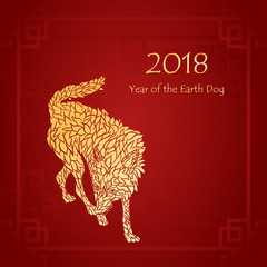 Cover template of Chinese new year and year of dog card with Gold earth Dog silhouette abstract line on red background vector design