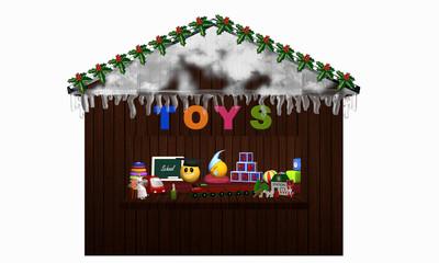 Weihnachtsstand mit Spielzeug auf weiß isoliert