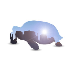 Silhouette of turtle with landscape background. Western desert. Rocks.  Blue sky. Rays.