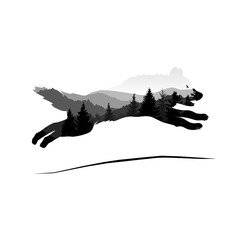 Silhouette of jumping wolf with mountain landscape. Grey tones.