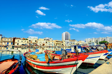 Colorful fishing boats in old port Bizerte. Tunisia, North Africa