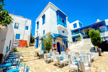 Resort town Sidi Bou Said. Tunisia, North Africa