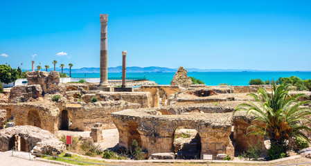 In de dag Tunesië Ruins of ancient Carthage. Tunis, Tunisia, North Africa
