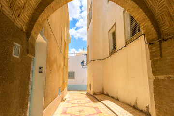 Typical alley in Medina of Kairouan. Tunisia, North Africa