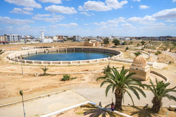 Landscape with one of Aghlabid Basins. Kairouan, Tunisia