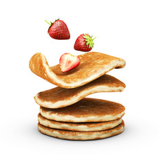 3d Illustration of Stack of pancakes with strawberries isolated white