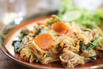Fried noodle with pork , Thai food