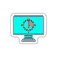 Vector illustration in paper sticker style Screen Countdown Number One
