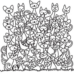 Doodle cats pile. cute background. Great for coloring book,Vector illustration