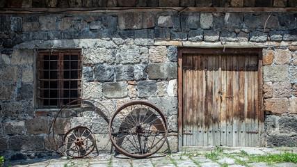 Metal wheel of an old car