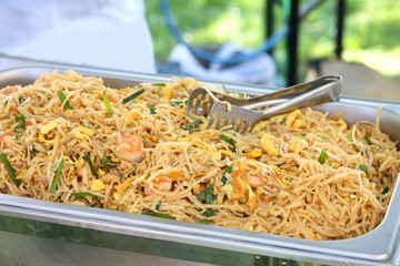 spaghetti or noodles with vegetable and egg typical Asian dish i
