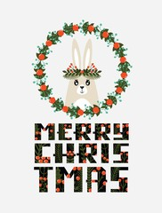 Cute Christmas card with a picture of a rabbit