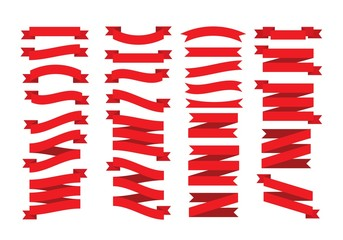 Set of Christmas red ribbons in flat style