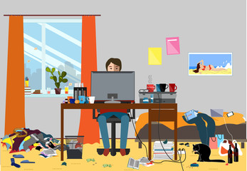 Illustration of a Disorganized Room Littered With Pieces of Trash. Room where young I.T. Guy, Bachelur or Student lives