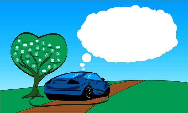 Coche eléctrico y ecológico cargando en un árbol tecnológico con fondo para texto aquí